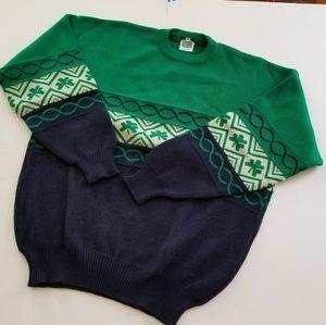 Vintage | Irish Acrylic Shamrock Crewneck Sweater